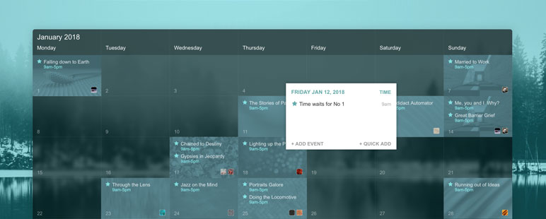 you can add an event via the panel that pops up when you hover over a day in the calendar