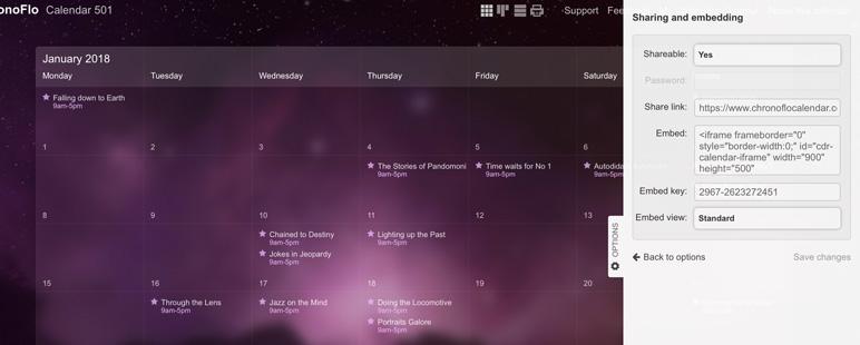 The ChronoFlo Calendar share and embed panel where you can obtain the embed code for your calendar