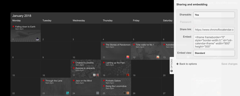 the Sharing and embedding tab is the place to go to find a link for sharing your calendar
